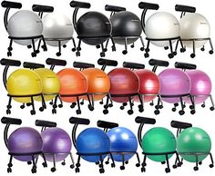 "Amazon.com : Isokinetics Inc. Brand Fitness Ball Chair - Silver Flake on Black Metal Frame Finish - Exclusive: 60mm (2.5"") Wheels - Adjustable Base and Back Height - with Black 55cm Ball and a Pump : Exercise Ball Accessories : Sports & Outdoors"