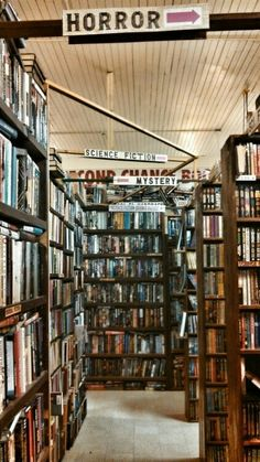 a quirky bookstore separated by genre books reading - Bookshelves For Bookstores