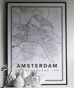 Map poster of Amsterdam. Print size 50 x 70 cm. Custom black and white map posters online. Mapiful.com