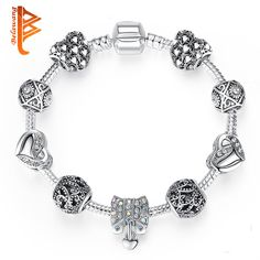 Antique Silver Color Heart Charms Bracelet Bangle for Women European Beads Jewelry Wedding Valentine's Day Gift
