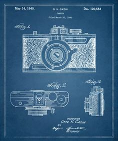Cazin Design For A Camera 1940. This blueprint frame on a wall would look great
