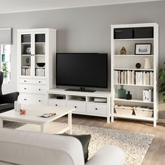 HEMNES TV storage combination, white stain, 128 Sustainable beauty from sustainably-sourced solid pine, a natural and renewable material that gets more beautiful with each passing year. Combine with other products in the HEMNES series. Muebles Living, Glass Cabinet Doors, Glass Door, Living Room Tv, Ikea Hemnes Living Room, Ikea Bedroom, Ikea Living Room Storage, Cozy Living, White Stain