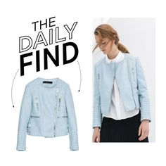 The Daily Find: Zara Pastel Colored Faux Leather Zip Jacket on Polyvore