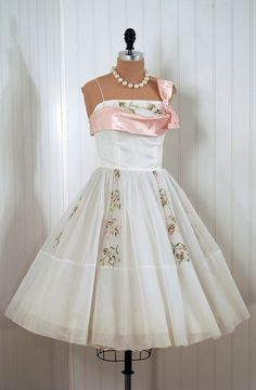 White and Pink Chiffon Easter Dress 1950s