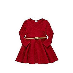 F&F Jacquard Skater Dress with Skinny Waist Belt 18-24 mths Red