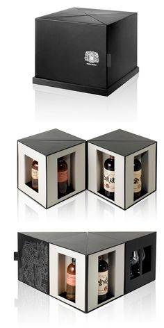 """whiskey packaging design"" - The special edition whiskey packaging design for Nikka Whiskey is able to take on several forms, based on the way it is configured. Perfume Packaging, Cool Packaging, Luxury Packaging, Food Packaging Design, Bottle Packaging, Packaging Design Inspiration, Brand Packaging, Cosmetic Packaging, Branding Design"
