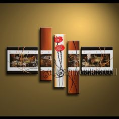 Beautiful Modern Abstract Painting Oil Painting On Canvas Panels Gallery Stretched Abstract. This 5 panels canvas wall art is hand painted by A.Qiang, instock - $172. To see more, visit OilPaintingShops.com