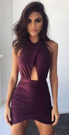 #outfits #spring púrpura del vendaje Vestido