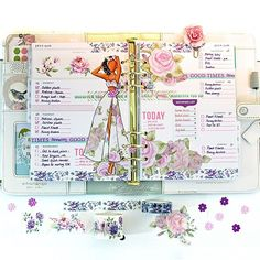 Designs by Robin on Instagram-planner using Prima doll, washi tape, and other products