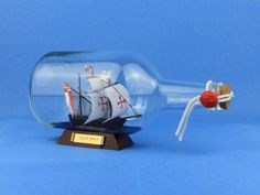"Santa Maria Ship in a Bottle 9"" from Handcrafted Nautical Decor - In stock and ready to ship"