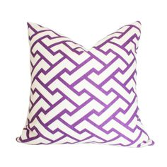 Aga Quadrille Purple Designer Pillow Cover 17x17 (single-sided)
