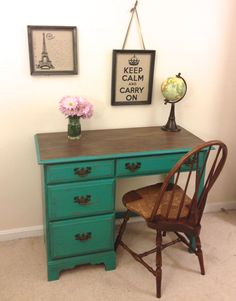 Rustic Turquoise Desk or Vanity and Chair Set by FurnitureAlchemy; Annie Sloan chalk paint, Florence, turquoise and wood furniture, painted furniture idea