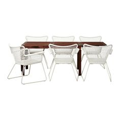ÄPPLARÖ / HÖGSTEN Table+6 chairs w armrests, outdoor, brown brown stained, white