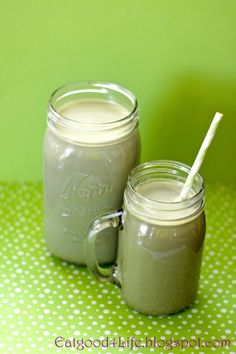 GREEN TEA LATTE INGREDIENTS: 2 Tbsp Matcha powder, Green tea powder 3 cups organic hot milk, any type will work, I used soy but I also use almond milk sometimes 3 Tbsp hot water 2-3 Tbsp maple syrup, honey or 1/2 dropper nunaturals stevia liquid extract  DIRECTIONS: In a big jar or glass mix the hot water with the green tea powder until it dissolves. Add the maple syrup and milk and mix though