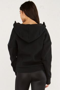 Back View of Adidas Zippered Hoodie With Thumb Holes in Black