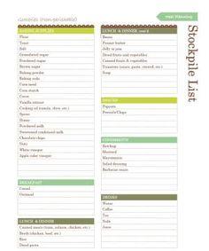 What to Stockpile - A Printable List: Printable Grocery Stockpile List