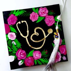 floral flowers nursing grad cap