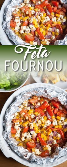 Feta fournou is baked feta with tomatoes, peppers, onions, and oregano. It makes a perfect snack, quick dinner or fun appetiser!