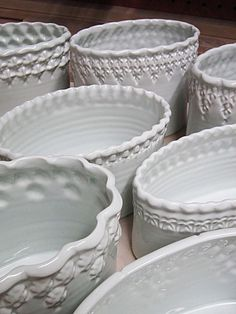 """""""The Quite White Collection"""" : stamped porcelain vases by Gary Jackson : Fire When Ready Pottery"""