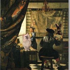 #動物#愛犬#ペット#ポメラニアン #ミニチュアピンシャー#合成#コラージュ #海外#西洋#絵画#美術#芸術#アート #フェルメール#モデル
