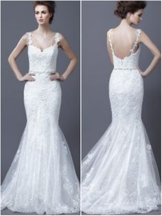Lace Spaghetti Straps Mermaid Wedding Dress With Trumpet Skirt Style We 0028 Boho