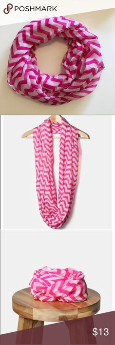 Pink and White Chevron Infinity Scarf This lightweight infinity scarf in pink and white chevron print is so cute and can be worn in so many different ways! Perfect for travel, office, school and much more! 💕NWOT Boutique• first pic shows actual item Accessories Scarves & Wraps