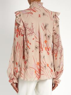 Ruffled mushroom-print silk-georgette blouse | Giambattista Valli…