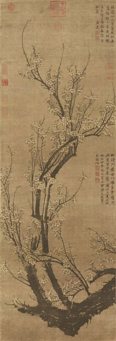 Wang Mian: Plum Blossoms in Early Spring, Hanging scroll,ink on silk, 151.4 x 52.2 cm, National Palace Museum, Taipei