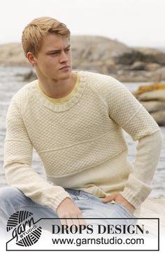 Maglione da uomo DROPS a maglia di riso doppia e raglan, in Lima o in Merino Extra Fine. Taglie: dalla S alla XXXL.