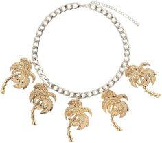 Pin for Later: Les motifs palmiers nous font patienter avant l'été ! Collier Topshop avec pendentifs palmiers Topshop Chunky Chain Palm Tree Necklace ($28)