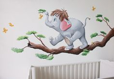 Olifantje uit jungle book op een tak, gemaakt door BIM Muurschildering op structuur, spagtelpoets. Elephant mural painting nursery. Jungle Book Nursery, Jungle Nursery Boy, Baby Elephant Nursery, Dinosaur Nursery, Kids Room Murals, Art Wall Kids, Baby Room Design, Baby Room Decor, Disney Mural