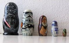 American artist Matt Brown has created a complete set of Star Wars Russian Dolls. Brown bought a set of blank Matryoshka dolls online and. Theme Star Wars, Fitness Armband, Matt Brown, Star War 3, Matryoshka Doll, Kokeshi Dolls, Oui Oui, Star Wars Characters, Geek Out