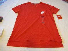 Nike Womens pocket short sleeve t shirt M 807232 red 657 training NWT^^ #Nike #ShirtsTops