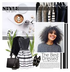 """Women's Black Sleeveless Round Neck Striped Tent Dress"" by pinki1994 ❤ liked on Polyvore featuring Relaxfeel and Yves Saint Laurent"