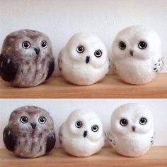 Cute Needle felted project wool animal owls(Via @mikeneko.ha_bu)