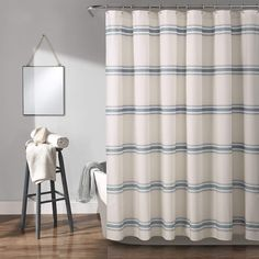 Farmhouse Stripe Shower Curtain Blue - Lush Decor is no easier way to add traditional farmhouse style to your bathroom than with this stylish shower curtain. The design printed on the front is reminiscent of shiplap beams. This shower Shower Curtain Hooks, Bathroom Shower Curtains, Master Bathroom, Master Baths, Baños Shabby Chic, Farmhouse Shower Curtain, Farmhouse Window Treatments, Lush, Ideal Bathrooms