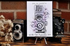Beautiful Vintage Camera Wedding Invite