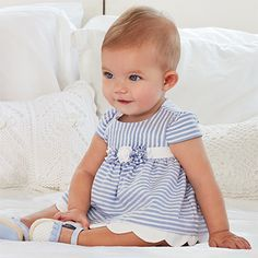 Two-piece striped baby girl dress