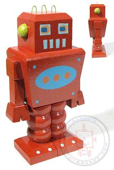 Red Wooden Robot