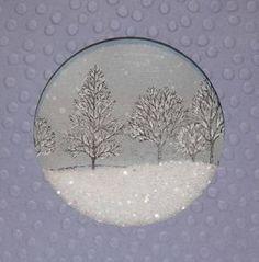 Snowglobe card with glitter