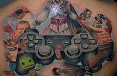 50 Best Gamer Tattoo Designs and Ideas - Beste Tattoo Ideen Gamer Tattoos, Tattoos For Guys, Cool Tattoos, Tatoos, Tattoo Foto, Card Tattoo, Mortal Kombat, Photomontage, Street Fighter Video Game