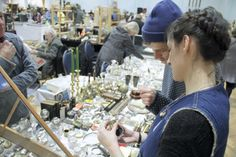 Shoppers perusing the 140 stalls at Adams Antiques Fair, The Royal Horticultural Halls