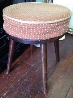Vintage Old Oak *FOOTSTOOL or STOOL* Dansette Atomic Legs Deep Seat Rest Pad #Unbranded #Traditional