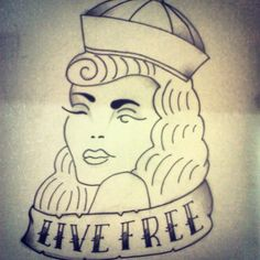 Live Free - Pin Up Girl  #PinUp #Tattoo #Livefree