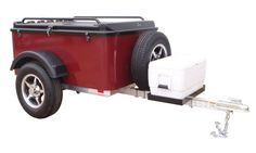 Hybrid Trailer Co. Vacationer with Spare Tire and Cooler Tray - Enclosed Cargo Trailer, 990 lbs. Gross, 30 cu/ft. - Black Cherry Hybrid Trailer Co LLC.