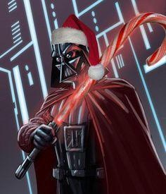 Star Wars Fan Art: Darth Vader has a candy cane lightsaber Wallpaper Darth Vader, Star Wars Wallpaper, Star Wars Pictures, Star Wars Images, Star Wars Christmas, Merry Christmas, Christmas Lights, Christmas Time, Star Wars Navidad