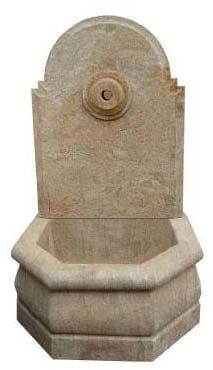 Wall Fountain - small. 'Plain'. Material: Hand Carved Stone with an Etched Antique Finish