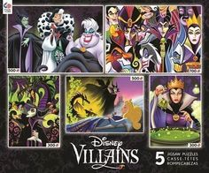 Ceaco Disney Villains Multipack Jigsaw Puzzle Set 5 disney puzzles in one! High gloss image on package for reference. Great puzzle for adults and kids. Proudly made in the usa. Thomas Kinkade Disney, Disney Puzzles, Puzzle Shop, Disney Fantasy, Disney Toys, Disney Disney, Disney Princess, Cool Posters, Disney Villains