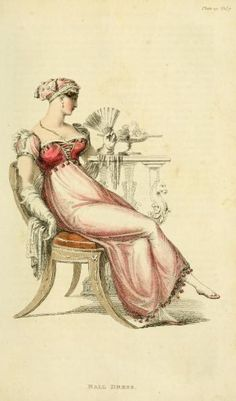 Fashion plate for a ball dress. April 1812: This is a costume gown / dress / outfit from the Regency (Jane Austen) era.