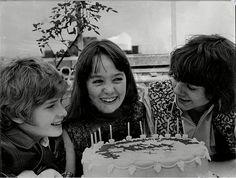 "Jack Wild, Tracy Hyde, Mark Lester, celebrating Tracy's birthday on the set of ""Melody,"" 1971"